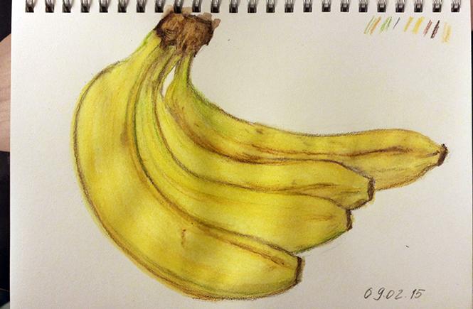 бананы. Рисунок, карандаши
