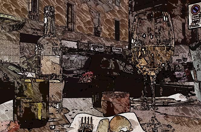 Милан. Вечер. Кафе