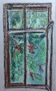 Заросшее окно. Пастель