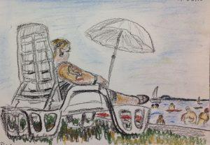 Балатон. Отдыхающие на берегу. Пастель