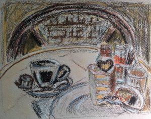 Кафе в Будапеште. Пирожное Эстерхази