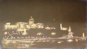 Будапешт ночью. Пастель