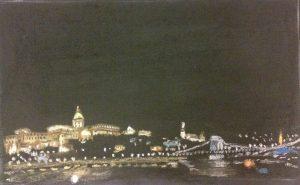 Будапешт. Вид на Королевский дворец и Цепной мост. Пастель