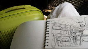 Зарисовки в поезде, интерьера вагона