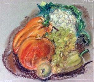 Натюрморт с осенними плодами. Мягкая пастель