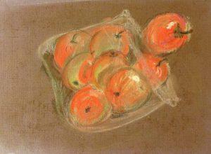 Яблоки в пакете. Мягкая пастель
