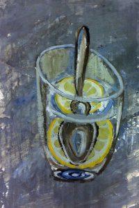 Лимон в стакане. Масло