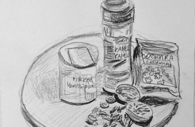 пряности: кардамон, корица, гвоздика, ванилин